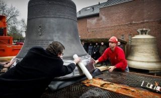 Marie, the biggest of all the new bells being made for Paris's Notre Dame Cathedral on its 850th anniversary next year, is pictured at the Royal Eijsbouts Bell Foundry in Asten, The Netherlands, on December 20, 2012. The bell left the foundry on Thursday headed for France