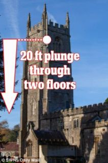 Terrifying: The distance fallen by the 50kg bell through the church tower as bellringers fled below - Autor: SWNS
